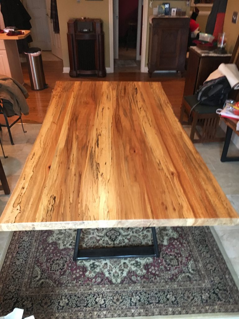 Spalted Hickory Live Edge Slab Top Table